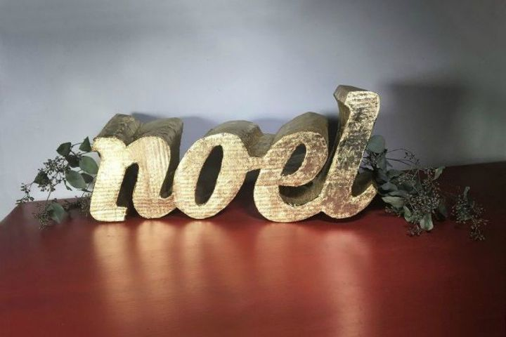 s cut up cardboard for these breathtaking christmas ideas, christmas decorations, Form it into a gorgeous metallic noel sign