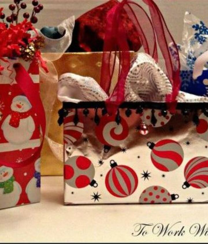 s cut up cardboard for these breathtaking christmas ideas, christmas decorations, Turn them into festive gift bags