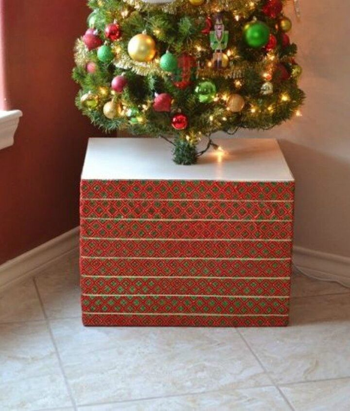 s cut up cardboard for these breathtaking christmas ideas, christmas decorations, Turn it into a Christmas base tree cover