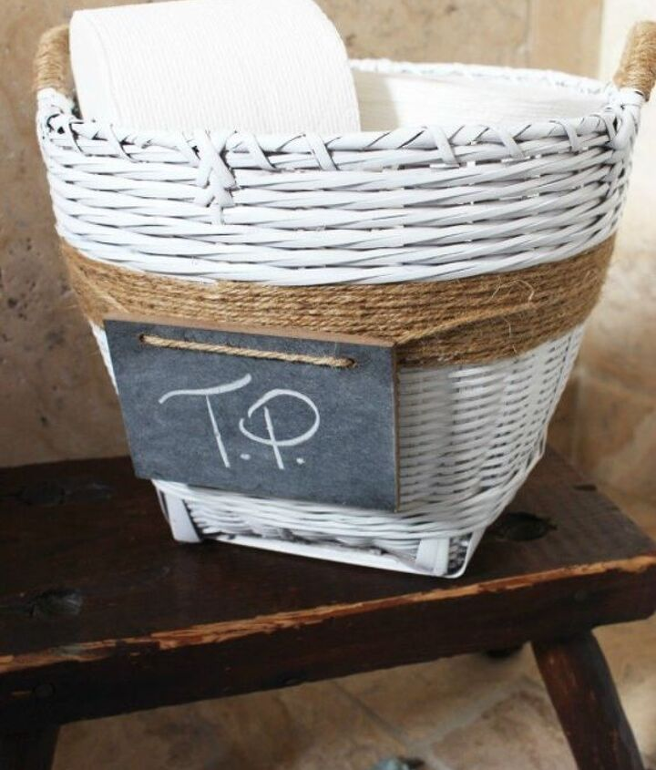 s grab an old basket for these clever ideas, crafts, Paint it for a bathroom toilet paper holder