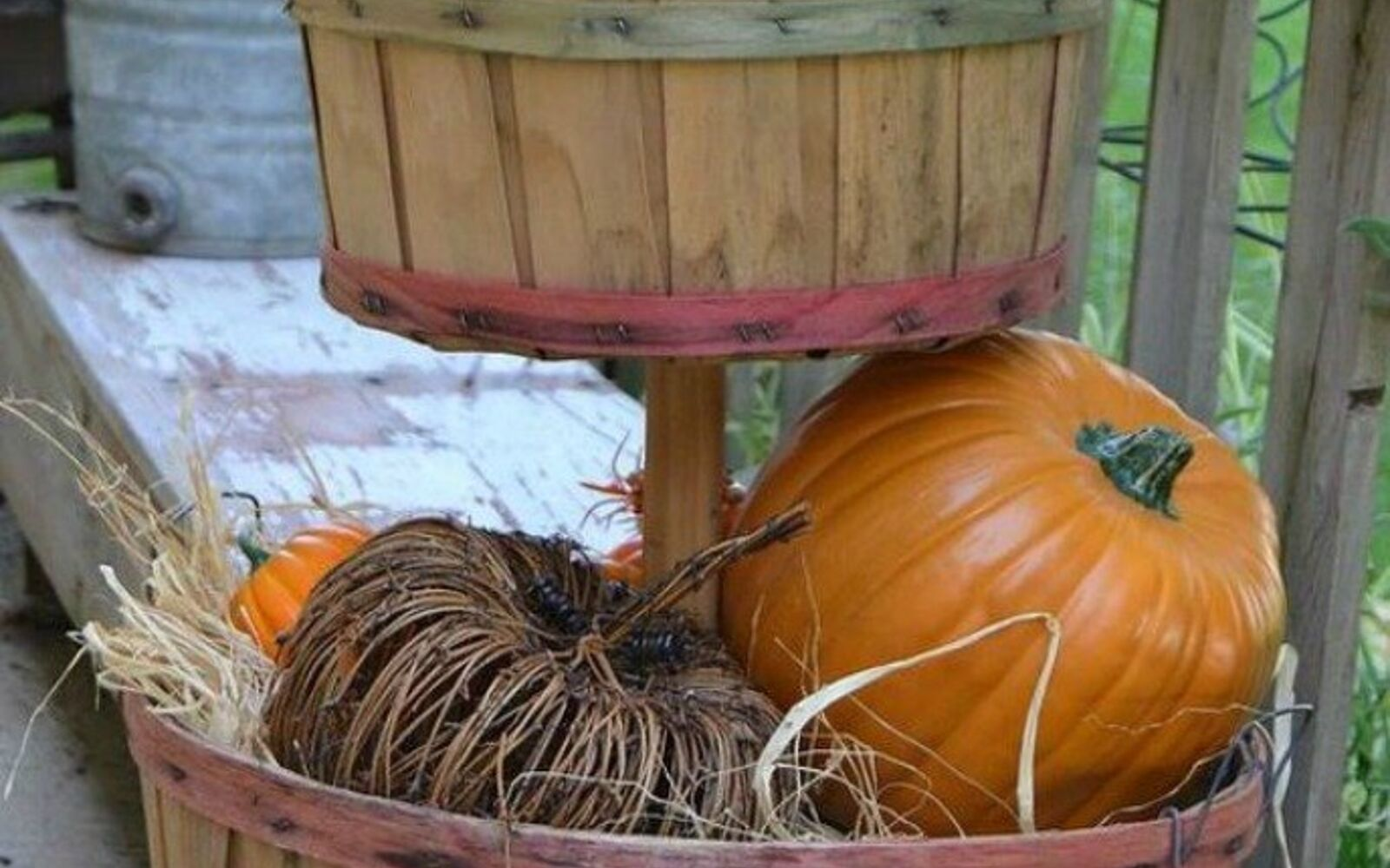 s grab an old basket for these clever ideas, crafts, Stack them into a pumpkin topiary