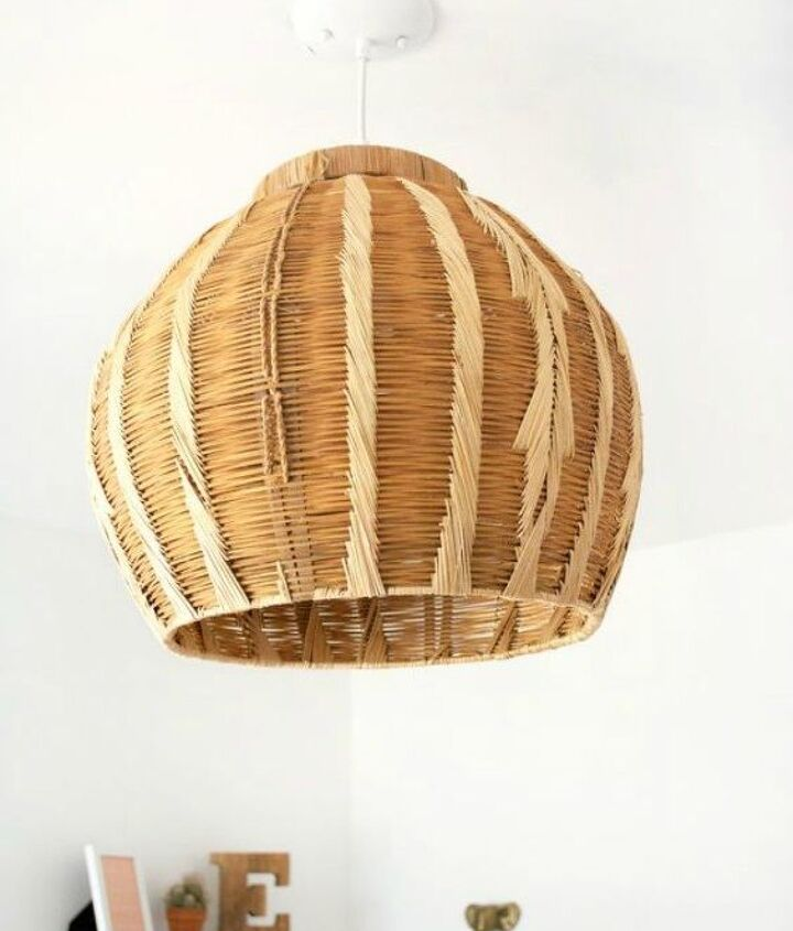 s grab an old basket for these clever ideas, crafts, Turn it into a unique pendant lamp shade