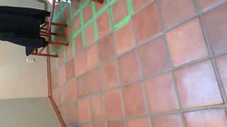 , I used frog tape painted a length of grout and removed the tape before the paint could dry Was easy and looks great The latex paint doesn t allow anything to stain the grout now Time consuming but SO WORTH THE EFFORT