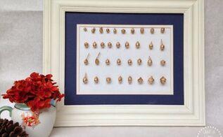 gold acorn specimen art, crafts, home decor, seasonal holiday decor, wall decor