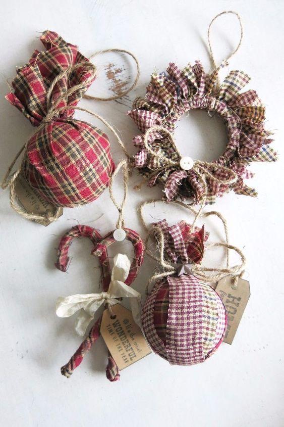 homespun fabric christmas ornament, christmas decorations, seasonal holiday decor, reupholster