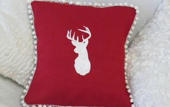 how to make a stencilled burlap pillow christmas decor idea, christmas decorations, crafts, home decor, how to