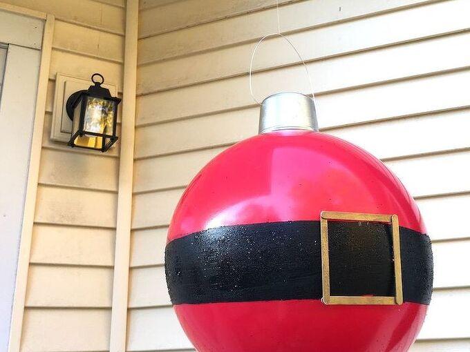 giant bouncy ball ornaments, christmas decorations, seasonal holiday decor