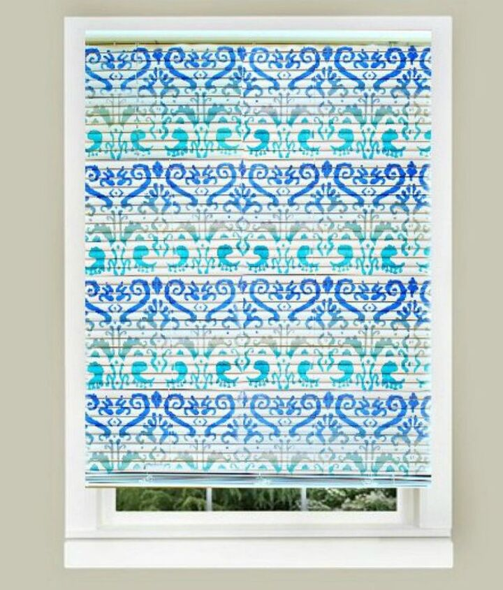 s 11genius ways to transform your ugly blinds, home decor, Stencil them with bright colors