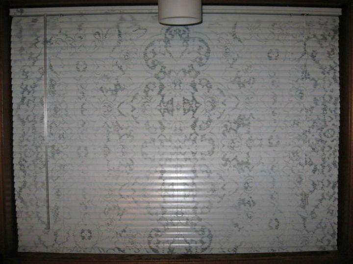 s 11genius ways to transform your ugly blinds, home decor, Layer on a lace pattern for a delicate feel