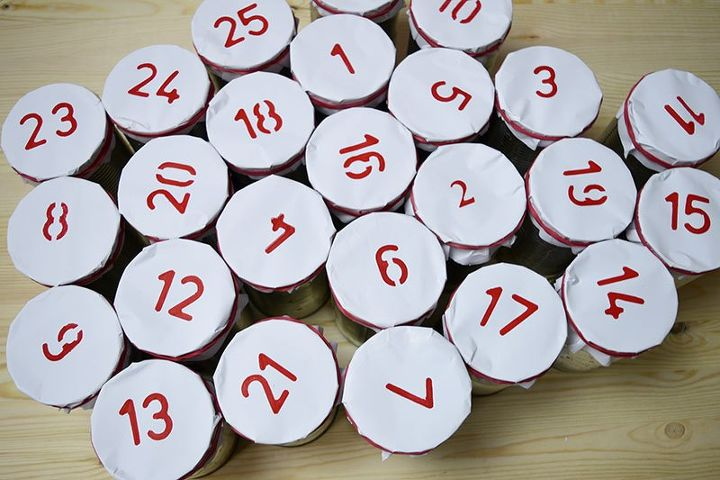 diy tin can christmas advent calendar, crafts, fireplaces mantels, gardening, pallet, repurposing upcycling, seasonal holiday decor