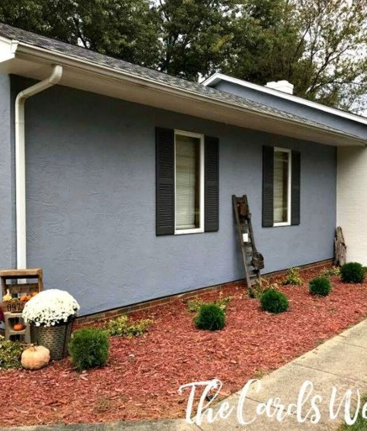 painted brick house makeover, concrete masonry, gardening, home decor, outdoor living, paint colors, painting
