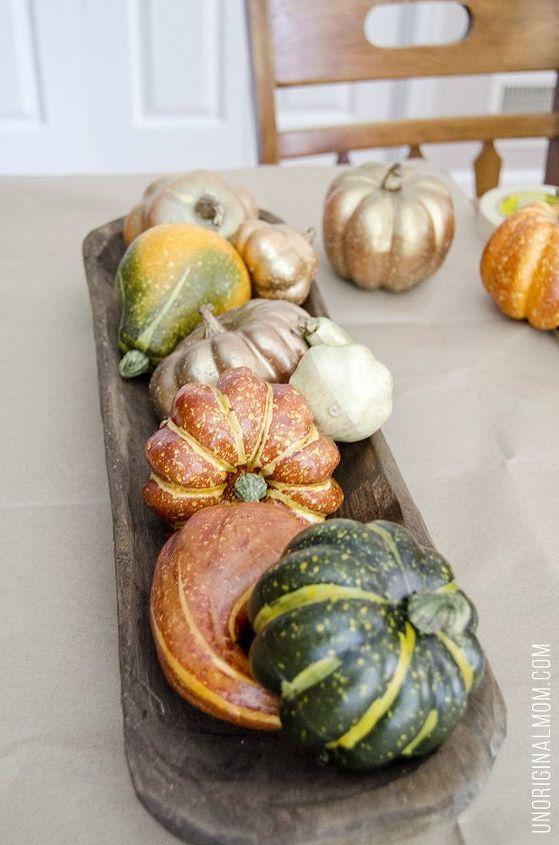 fall centerpiece with chalk paint pumpkins, chalk paint, home decor, painting, thanksgiving decorations