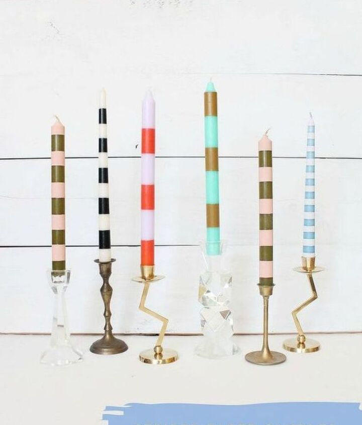 s 15 simple candle transformations you need to try this season, Paint them with stripes to get an Anthro look