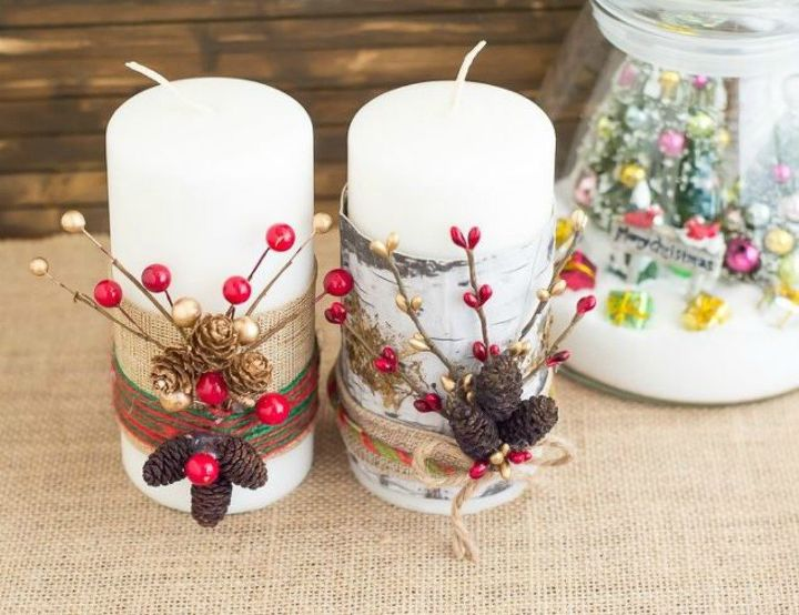 s 15 simple candle transformations you need to try this season, Tie them with Christmas twine