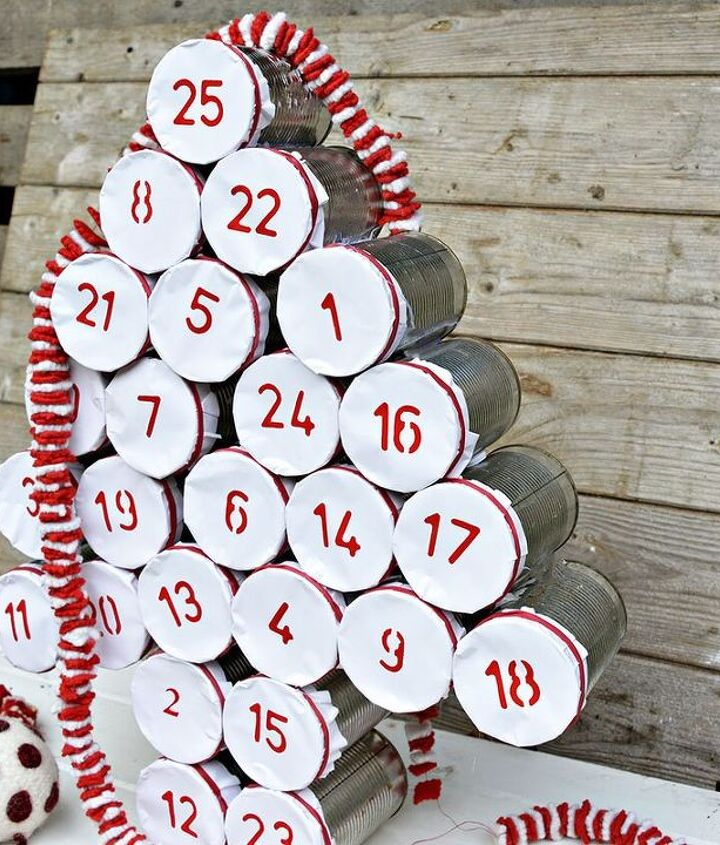 diy tin can christmas advent calendar, crafts, fireplaces mantels, gardening, pallet, repurposing upcycling, seasonal holiday decor