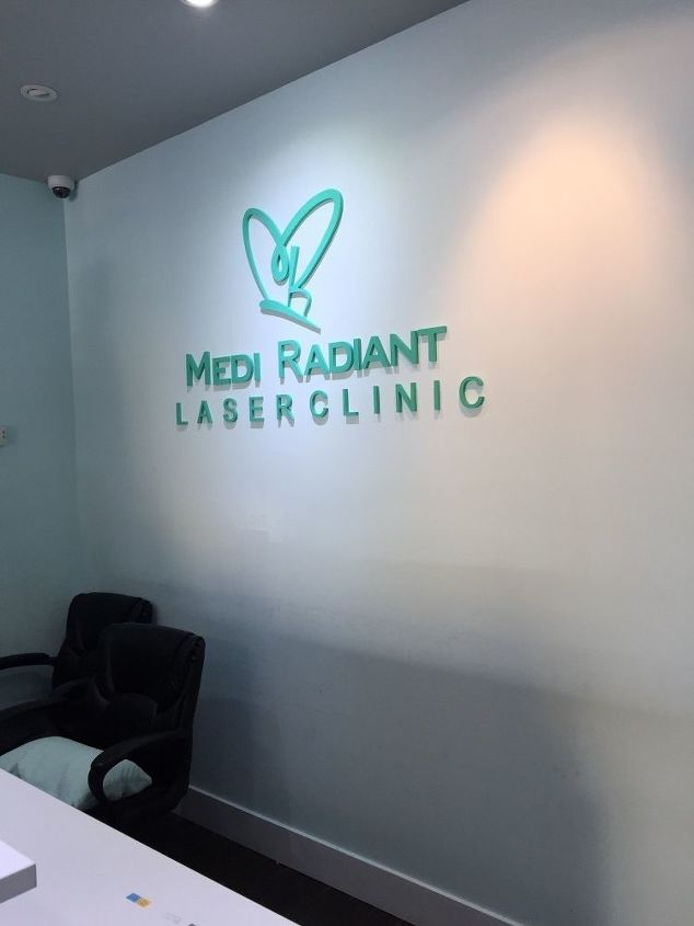 q medical spa consultation room, home improvement, This is the logo wall behind receptions how can I do to upgrade it