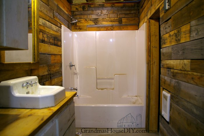 Covering Walls With Pallet Wood The Basement Bathroom Renovation - Basement bathroom renovation