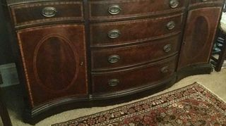 , This is a mahogany buffet You can find in walnut pine oak whatever in traditional country or almost any style you can imagine The older ones are real wood The perfect recycle