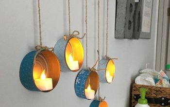 tuna can tea light hangers
