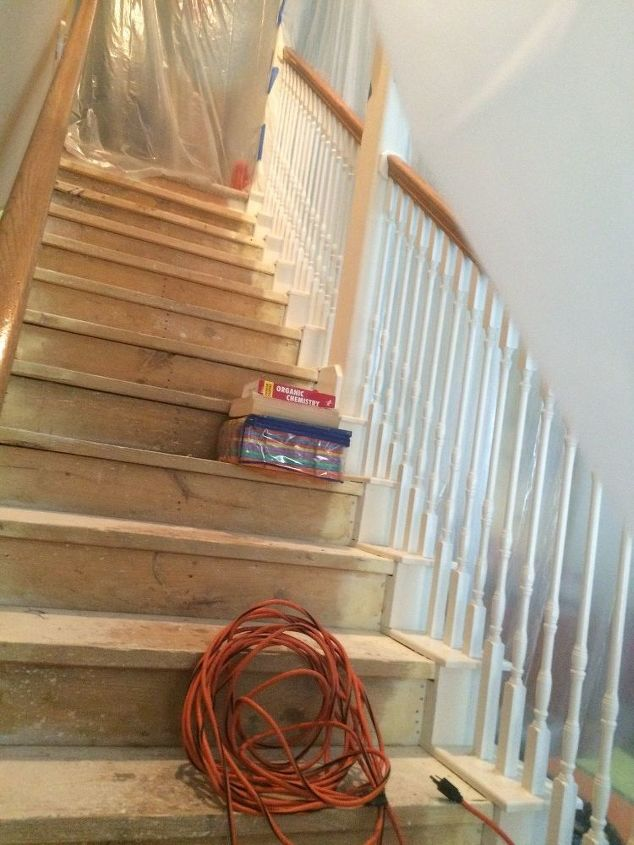 removed old nasty carpet from stairs, stairs, reupholster