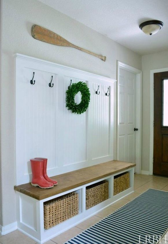 s here s how to get a mudroom when you don t have an entryway 13 ideas , foyer, how to, Build your own with a bench and hooks
