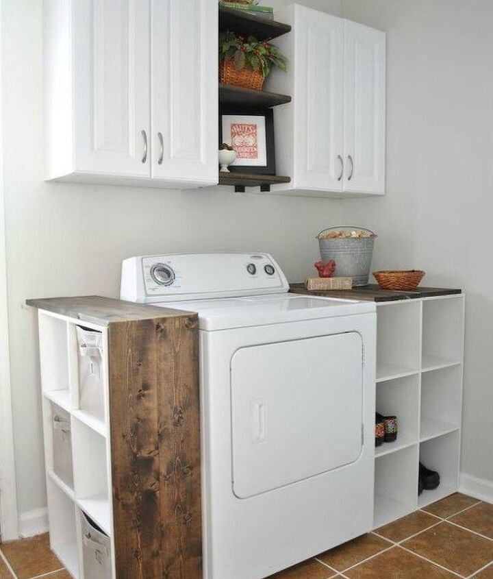 s here s how to get a mudroom when you don t have an entryway 13 ideas , foyer, how to, Transform your laundry room with shelves