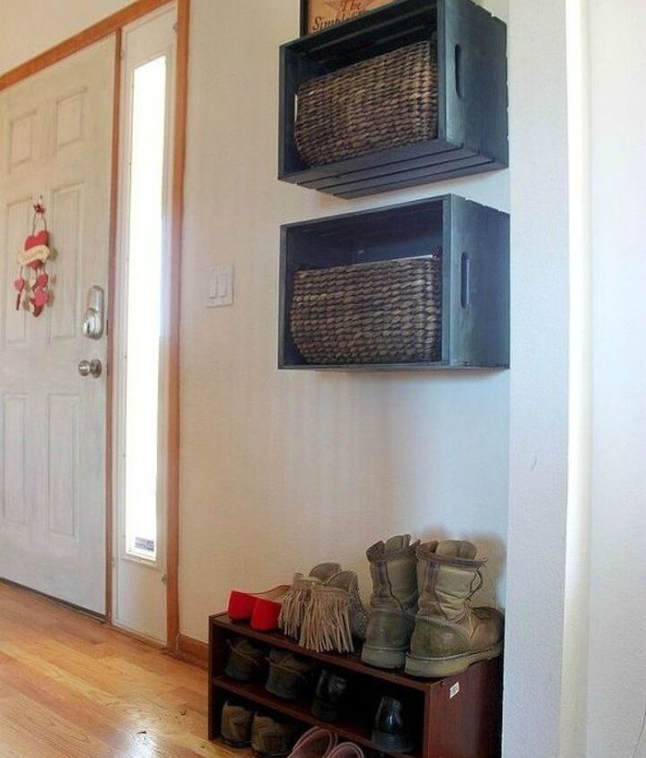 s here s how to get a mudroom when you don t have an entryway 13 ideas , foyer, how to, Nail some crates to your wall