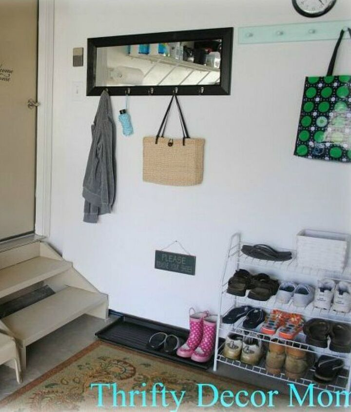 s here s how to get a mudroom when you don t have an entryway 13 ideas , foyer, how to, Turn the corner of your garage into one