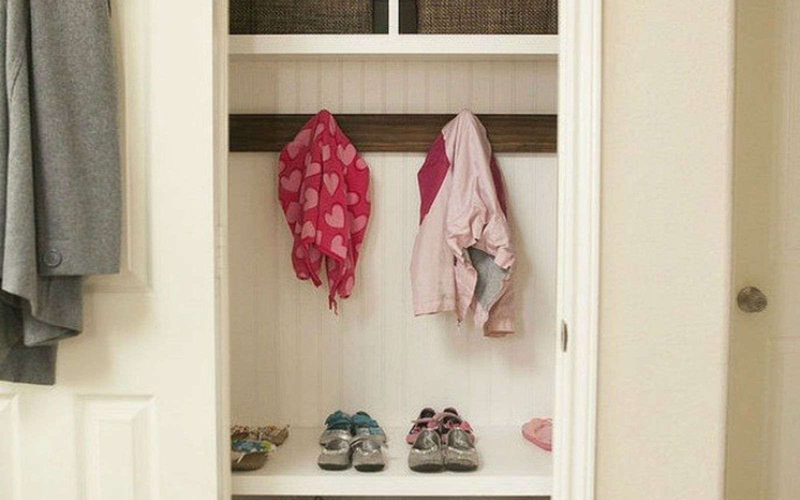 s here s how to get a mudroom when you don t have an entryway 13 ideas , foyer, how to, Or play it up with some wood shelves