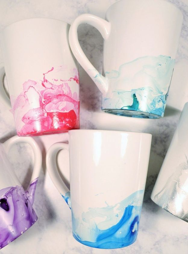 Marbled Diy Mugs With Nail Polish A Giveaway Hometalk