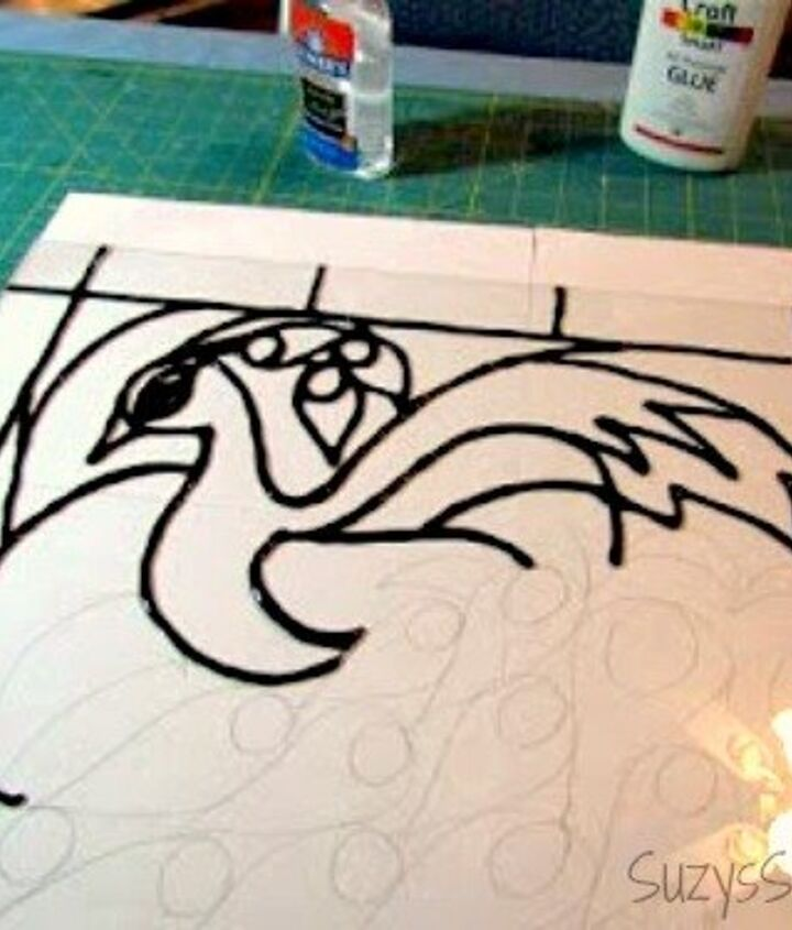 creating faux stained glass with acrylic paint and glue, crafts, painting