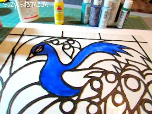 Easy Peacock Glass Painting