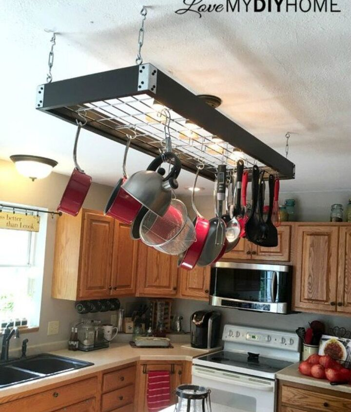 s 13 storage ideas that will instantly declutter your kitchen drawers, kitchen design, organizing, storage ideas, Or build your own pot rack with hooks