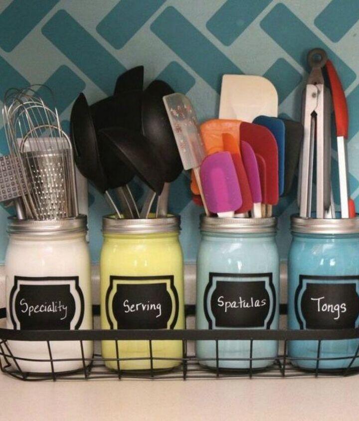 s 13 storage ideas that will instantly declutter your kitchen drawers, kitchen design, organizing, storage ideas, Keep spatulas in designated jars