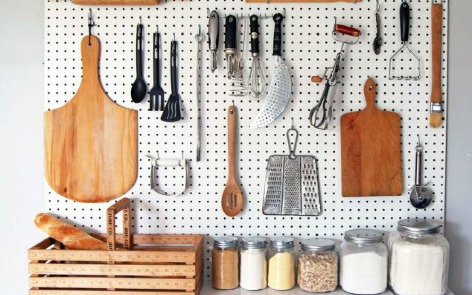 s 13 storage ideas that will instantly declutter your kitchen drawers, kitchen design, organizing, storage ideas, Hang everything on a pegboard wall