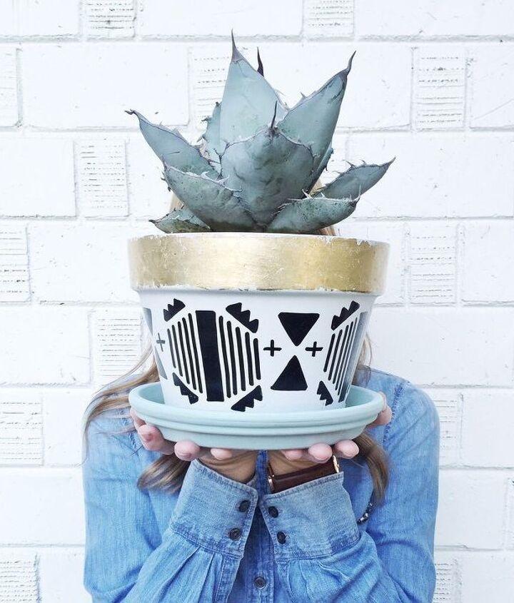 diy aztec print succulent pots, flowers, gardening, succulents