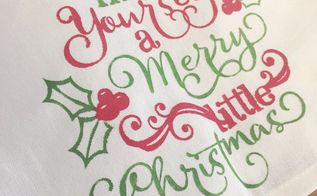 fabric painted christmas tea towel, bathroom ideas, reupholster