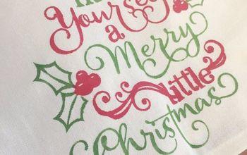 fabric painted christmas tea towel, bathroom ideas, reupholster