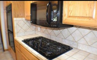q how to makeover tile counters and backsplash , countertops, kitchen backsplash, kitchen design, ugly tile backsplash