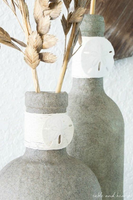s shut the front door these sand decorating techniques are stunning , doors, Mod Podge sand onto reusable glass bottles