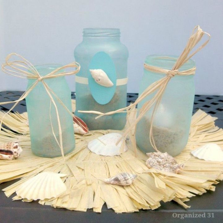 s shut the front door these sand decorating techniques are stunning , doors, Turn mason jars into beachy lanterns