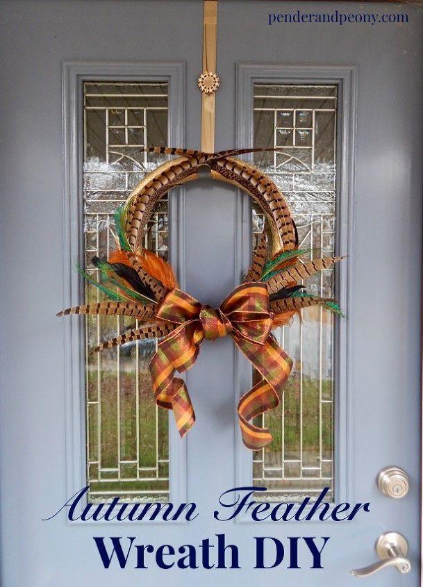 autumn feather wreath diy, crafts, seasonal holiday decor, wreaths