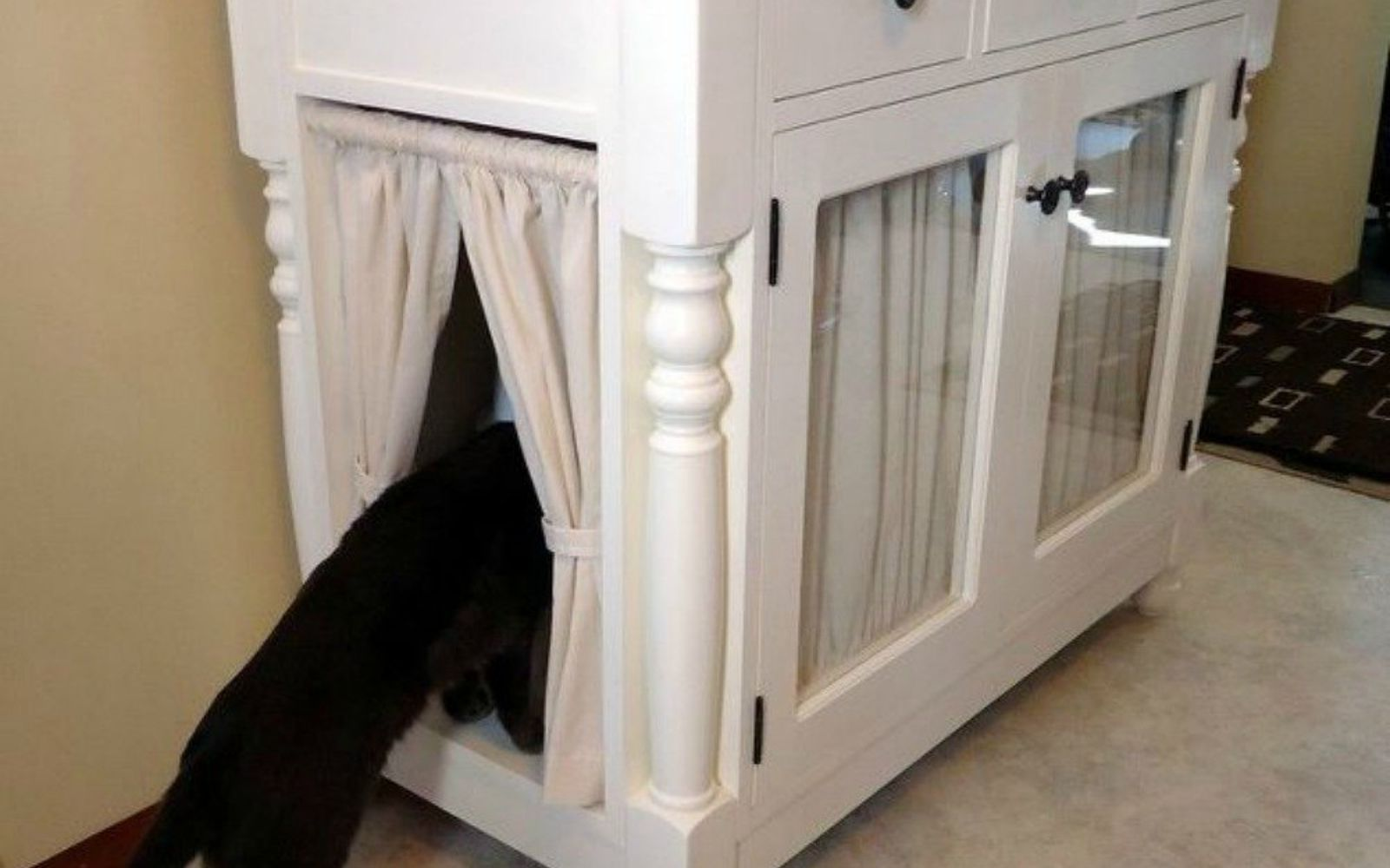 furniture to hide litter box. Add Curtains To Butcher Block Counter Doors Furniture Hide Litter Box R