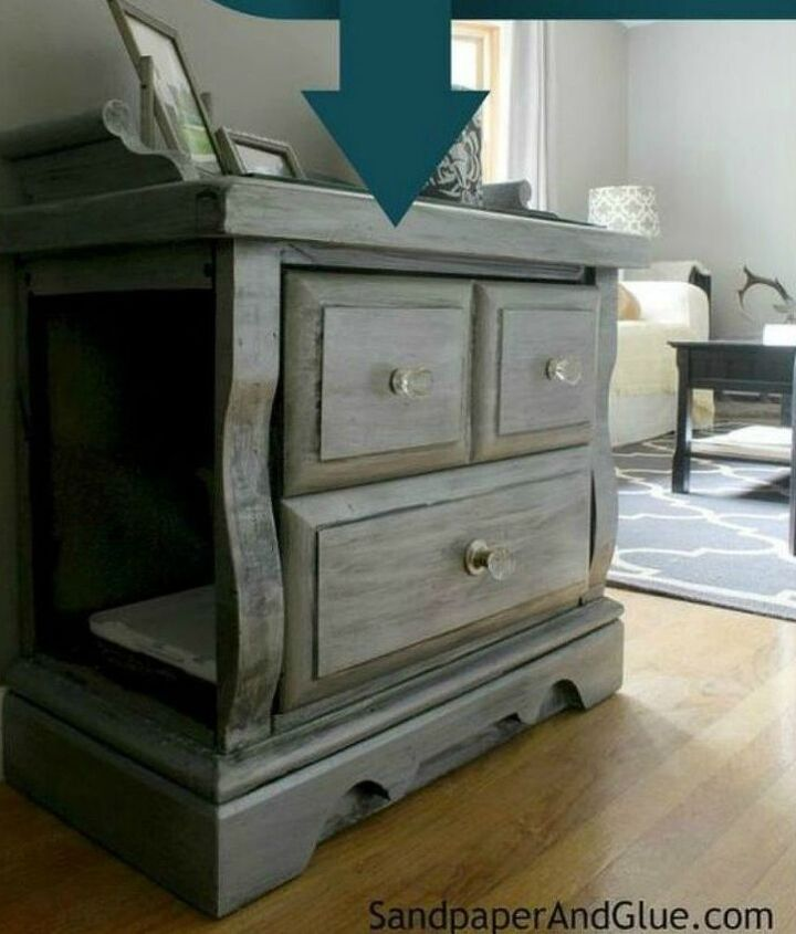 s cat owners 12 ways to hide a litter box in plain site, Carve a hidden nook in a gorgeous end table