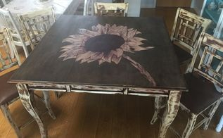 sunflower stained highly top table makeover, flowers, gardening, painted furniture