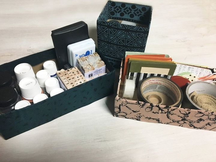 tissue box turned storage bins, composting, go green, storage ideas