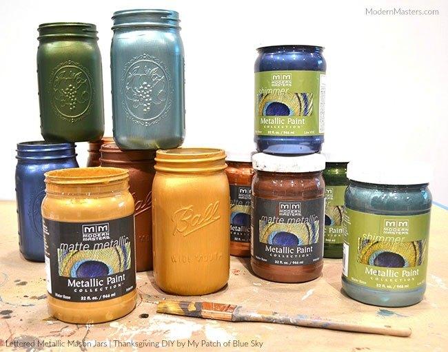 thanksgiving diy lettered metallic mason jars, mason jars