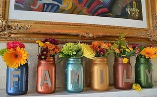 thanksgiving diy lettered metallic mason jars, mason jars