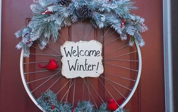 bicycle rim winter wreath, crafts, wreaths