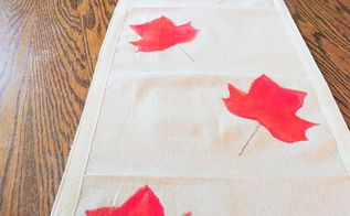 painted fall table runner, painted furniture